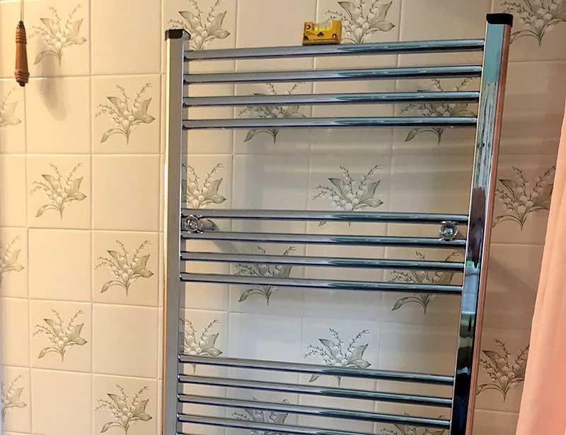 Heated Towel Rail in Bathroom